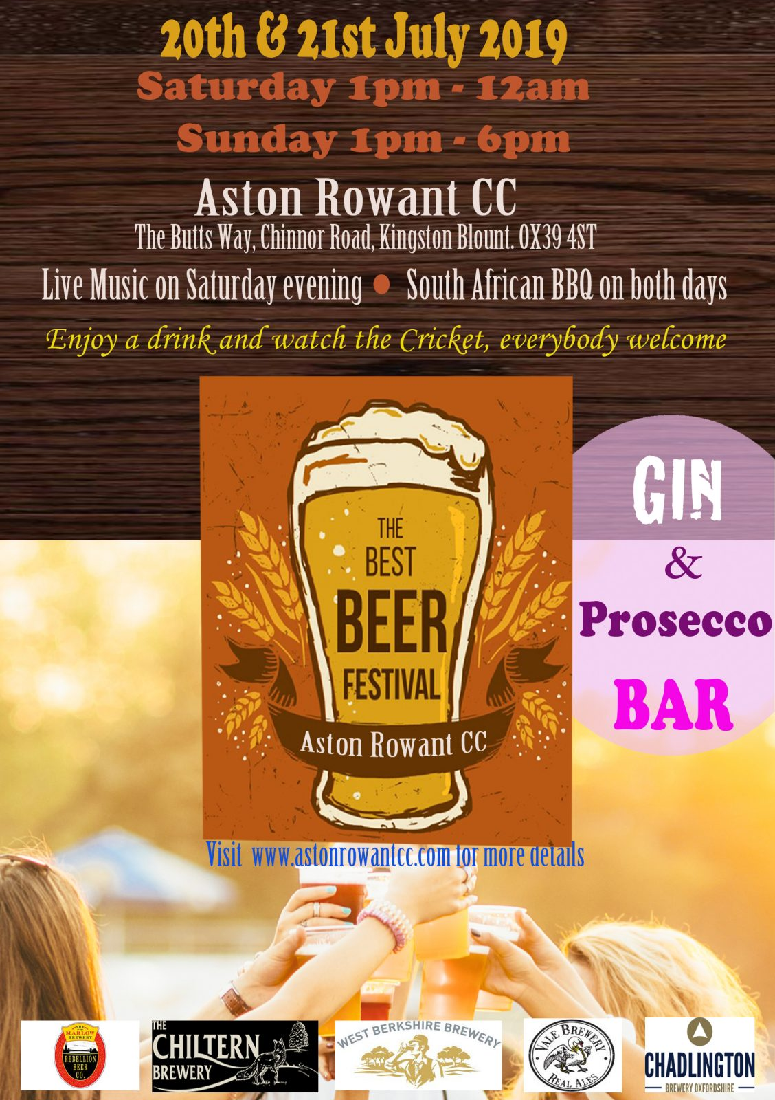 Aston Rowant Beer Festival 20th + 21st July